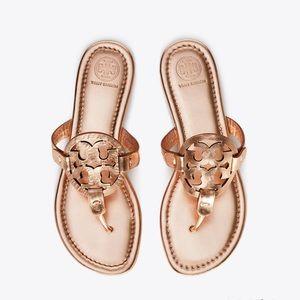 Tory Burch Metallic Leather Rose Gold Sandal